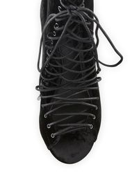 Kendall + Kylie - Black Kendall + Kylie Ginny Velvet Lace Up Open Toe Booties - Lyst