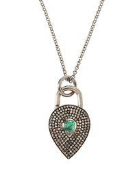 Bavna - Green Diamond & Emerald Lock Pendant Necklace - Lyst