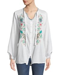 Johnny Was - White Peacock Embroidered Button-front Peasant Blouse - Lyst