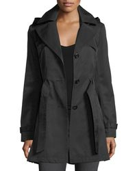 Via Spiga | Black Single-breasted Hooded Trench Coat | Lyst