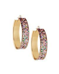 Romeo and Juliet Couture Metallic Glitter Hoop Earrings