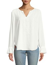 NYDJ - White Embroidered Ruffle-cuff Blouse - Lyst