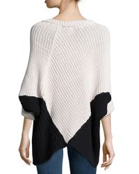 Minnie Rose - Multicolor Colorblock Poncho Sweater - Lyst