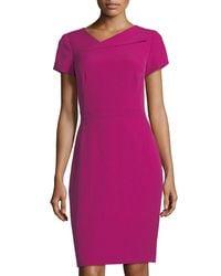Tahari - Purple Fold-over Neck Sheath Dress - Lyst