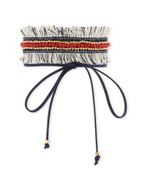 Panacea - Blue Fabric Fringe Choker W/ Red Crystals - Lyst