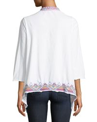 Johnny Was - White Langley Open-front Embroidered Cardigan - Lyst