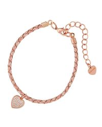 Nakamol - Pink Braided Leather Bracelet W/ Heart Charm - Lyst