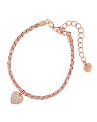 Nakamol - Pink Braided Leather Bracelet W/ Heart Charm - Lyst