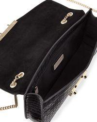 Furla - Black Julia Small Croco Leather Pochette Bag - Lyst
