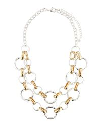 Fragments - Metallic Classic Two-tone Circle Link Double-row Necklace - Lyst