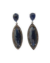 Bavna - Metallic Silver Marquise Drop Earrings With Blue Sapphire & Diamonds - Lyst