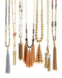 Lydell NYC - White Golden Beaded Tassel Pendant Necklace - Lyst