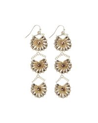 Nakamol | Metallic Crystal Triple-drop Statement Earrings | Lyst