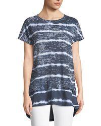 Allen Allen - Blue Tie-dye Short-sleeve Contrast Hem Sweatshirt - Lyst