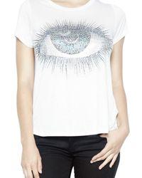 Lauren Moshi - White Janie Crystal Cosmic Eye Classic S/s Tee - Lyst