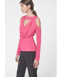Lavish Alice - Cold Shoulder Cowl Neck Top In Fuschia Pink - Lyst