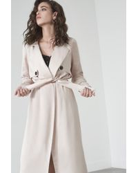 Lavish Alice - Natural Trench Coat In Sand Satin - Lyst