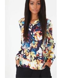 Lavish Alice - Multicolor Multi Abstract Print Dipped Hem Shirt - Lyst
