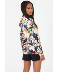 Lavish Alice - Multicolor Multi Abstract Print Dipped Hem Shirt - Lyst
