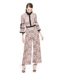 03dfb5d05ad Lela Rose. Women s Floral Corded Lace Full Sleeve Jumpsuit