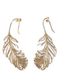 Alex Monroe - Metallic Peacock Feather Earrings - Lyst