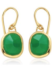 Monica Vinader | Vermeil Green Onyx Siren Wire Earrings | Lyst