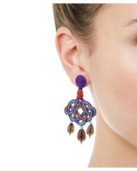 Anna E Alex - Purple Lamé Silk Passementerie Lanterna Stone Drop Earrings - Lyst