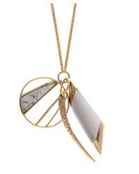 Alexis Bittar - Metallic Medium Beige Crystal Encrusted Multi Charm Pendant - Lyst