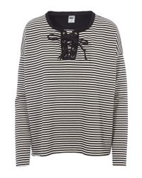 NSF - Black White Dougherty Lace Up Stripe Top - Lyst