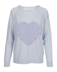 Chinti & Parker - Light Blue Big Heart Front Sweater - Lyst