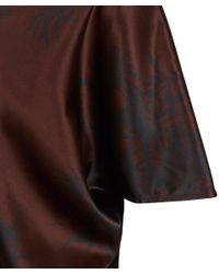 Ann Demeulemeester - Brown Printed Asymmetric Silk Top - Lyst