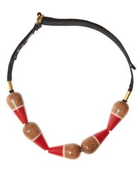 Marni | Multicolor Large Wooden Pendant Detail Necklace | Lyst