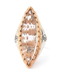 Laurent Gandini - Multicolor Rose Gold Rimmed Rock Crystal Cocktail Ring - Lyst