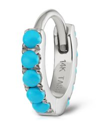 Maria Tash - Blue Small White Gold Turquoise Eternity Ring - Lyst