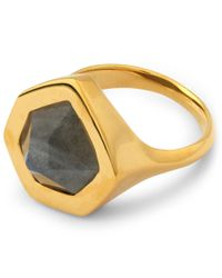 Monica Vinader - Metallic Gold-plated Petra Labradorite Cocktail Ring - Lyst