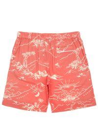 Desmond & Dempsey - Orange Map Print Pyjama Shorts for Men - Lyst