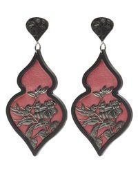 Anna E Alex - Multicolor Black Palladium-plated Giardino Ornate Bird Floral Velvet Earrings - Lyst