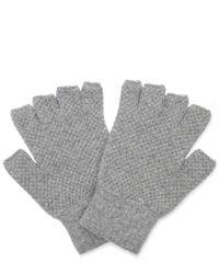 Jo Gordon - Gray Moss Stitch Lambswool Fingerless Gloves - Lyst