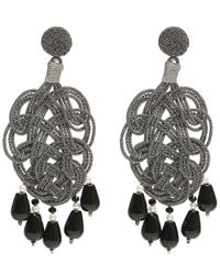 Anna E Alex - Multicolor Silk Passementarie Pearl And Black Agate Drop Earrings - Lyst