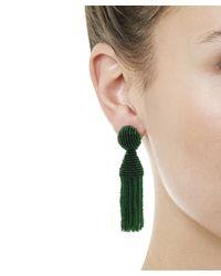 Oscar de la Renta - Green Short Beaded Tassel Clip-on Earrings - Lyst