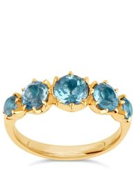 Dinny Hall - Metallic Elyhara Gold Tapering Five-stone Aquamarine Ring - Lyst