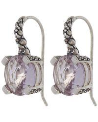 Stephen Dweck - Metallic Silver Amethyst Engraved Floral Drop Earrings - Lyst