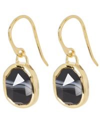 Monica Vinader - Metallic Gold-plated Black Line Onyx Siren Wire Earrings - Lyst