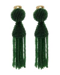 Oscar de la Renta | Green Short Beaded Tassel Clip-on Earrings | Lyst