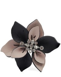 Marni - Multicolor Leather And Crystal Flower Brooch - Lyst