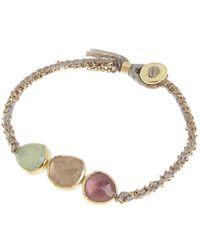 Brooke Gregson - Metallic Gold Triple Orbit Emerald And Pink Sapphire Silk Woven Bracelet - Lyst