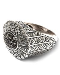 Stephen Dweck - Metallic Oval Ring With Black Diamond Pave Center - Lyst