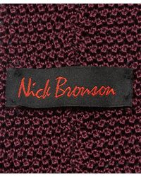 Nick Bronson - Purple Plain Knit Silk Tie for Men - Lyst