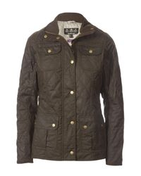 Barbour   Green Quilted Utility Jacket With Liberty Pepper Print Lining   Lyst