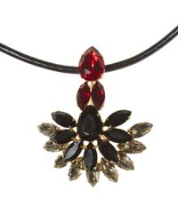 Marni - Red Strass Crystal Necklace With Leather Tie - Lyst